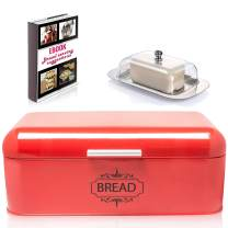 AllGreen Vintage Bread Box Container for Kitchen Decor Stainless Steel Metal bread Bins Retro RED For Kitchen Counter Dry Food Storage Including Free Butter Dish and Serving eBook Store Bread Loaf