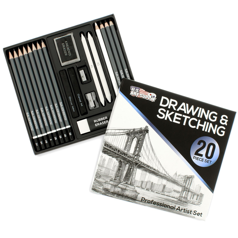 U.S. Art Supply 20 Piece Professional Hi-Quality Artist Sketch Set in Hard Storage Case - Sketch & Charcoal Pencils, Pastel, Stumps, Eraser, Sharpeners
