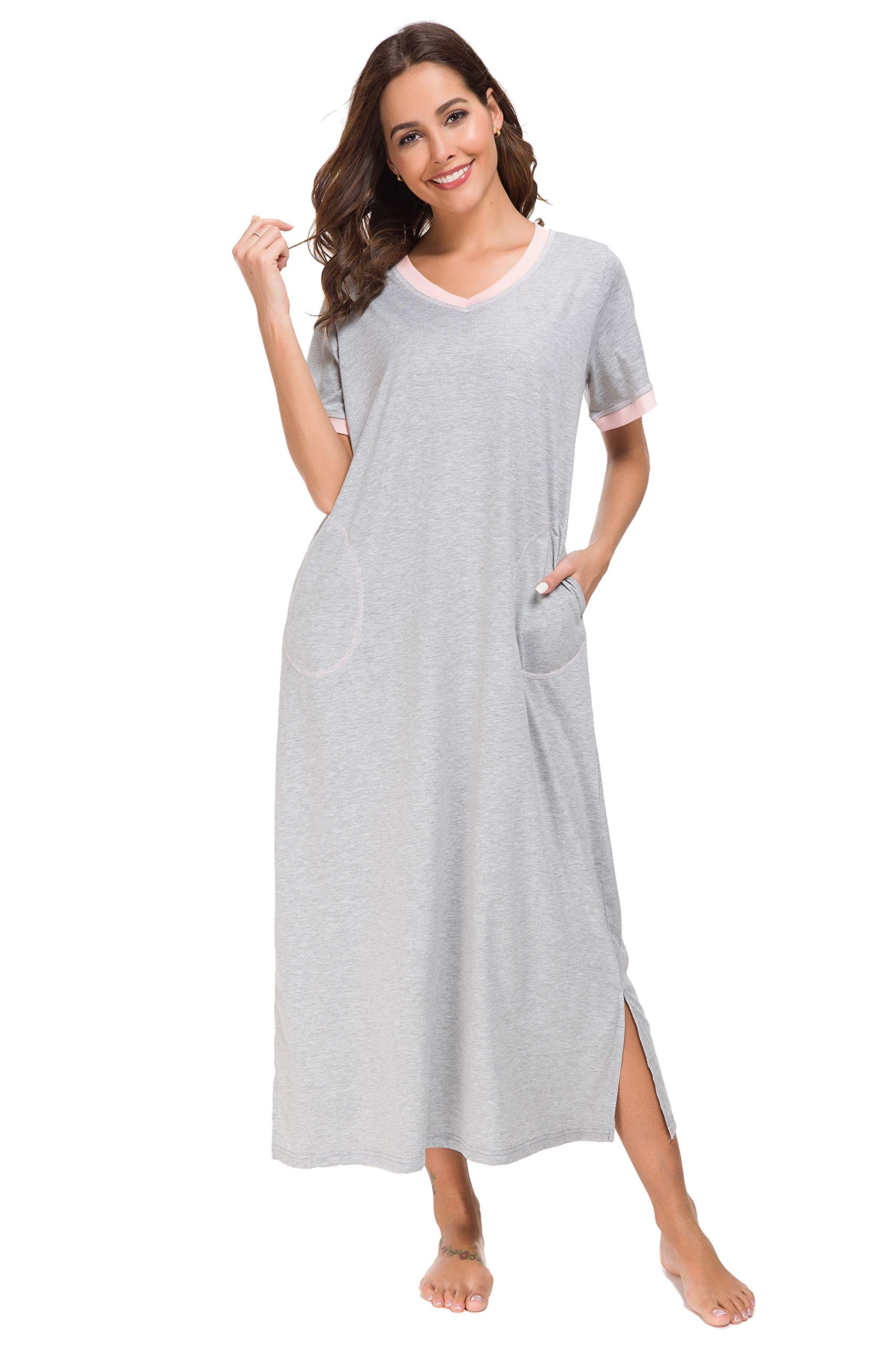 YOZLY Long Nightgown Womens House Dresses Cotton Loungewear V Neck Sleepwear
