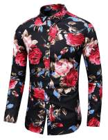 LEFTGU Men's Slim fit Floral Printed Beach Hawaiian Button-Down Dress Shirt (Medium Chest: 41.7 inch, Black red)