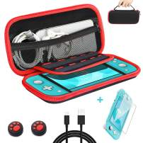 habbipet Nintendo Switch Lite Carrying Case with Glass Screen Protector,Hard Shell Carrying Bag for Accomodated Nintendo Switch Lite Accessories -1 USB C Cable & 2 Thumbstick Caps - Red-Black Color