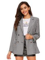 Milumia Women's Open Front Plaid Long Sleeve Gingham Blazer Jacket Outerwear Black and White L