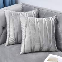 NianEr Decorative Plush Velvet Throw Pillow Covers Sofa Accent Couch Pillows Set of 2 for Bed Living Room Square Pillow Cases 22X22 Silver Grey Gray