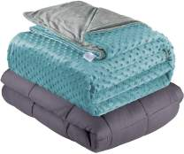 """Quility Weighted Blanket for Kids or Adults - Heavy Heating Blankets for Restlessness (36""""x48"""", 5 lbs.), Grey, Tide Cover"""