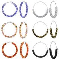 Hanpabum 6-8pairs Glitter Hoop Earrings Sparkle Resin Rhinestone Wrapped Big Hoop Dangle Earrings 65MM