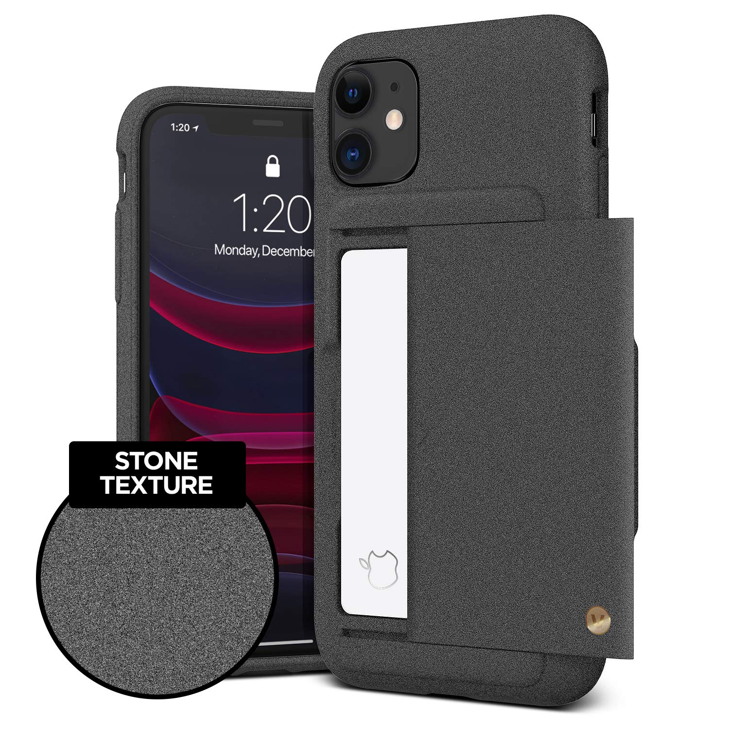 VRS DESIGN Damda Glide Shield Compatible for iPhone 11 Case, with [2 Cards] Premium [Semi Auto] Wallet for iPhone 11 6.1 inch (2019) Sand Stone