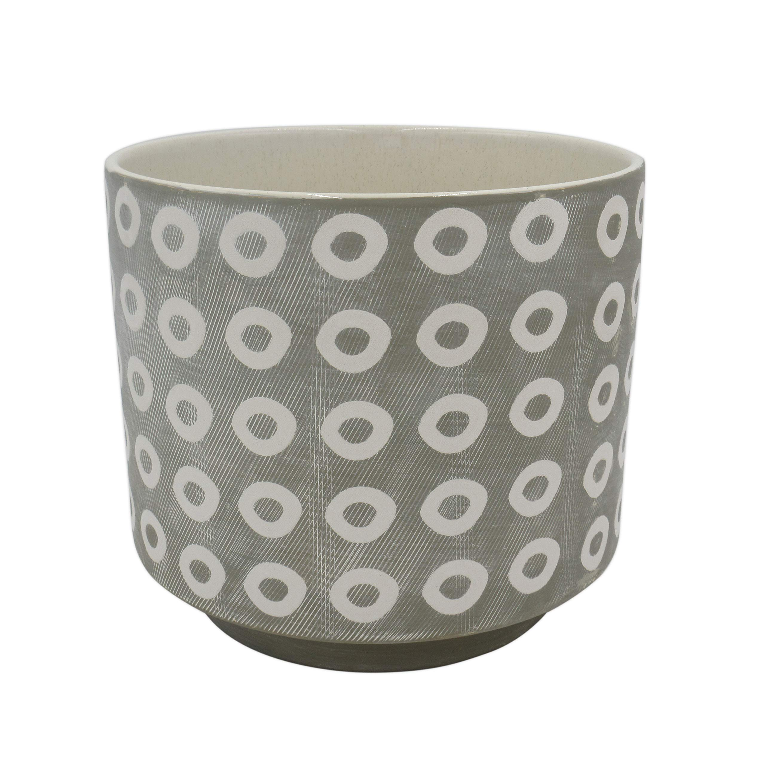 "Amazon Brand – Rivet Rustic Circle-Patterned Stoneware Planter, 8.85""H, White and Gray"