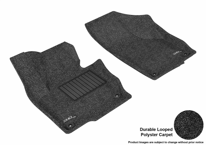 3D MAXpider Front Row Custom Fit Floor Mat for Select Volkswagen Tiguan Models - Classic Carpet (Black)