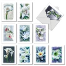 Blooming Memories - 10 Assorted White Flowers Watercolor Condolence Thank You Sympathy Note Cards with Envelopes M6598STG-B1x10