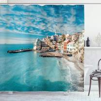 """Ambesonne Italy Shower Curtain, Panorama of Old Italian Fishing Village Beach in Old Province Coastal Charm Image, Cloth Fabric Bathroom Decor Set with Hooks, 75"""" Long, Turquoise"""