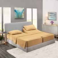 Nestl Bedding 5 Piece Sheet Set - 1800 Deep Pocket Bed Sheet Set - Hotel Luxury Double Brushed Microfiber Sheets - Deep Pocket Fitted Sheet, Flat Sheet, Pillow Cases, Split Cal King - Gold