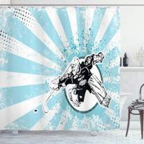 """Ambesonne Hockey Shower Curtain, Grungy Retro Style Halftone Background with a Goaltender in Circle, Cloth Fabric Bathroom Decor Set with Hooks, 70"""" Long, Blue Black"""