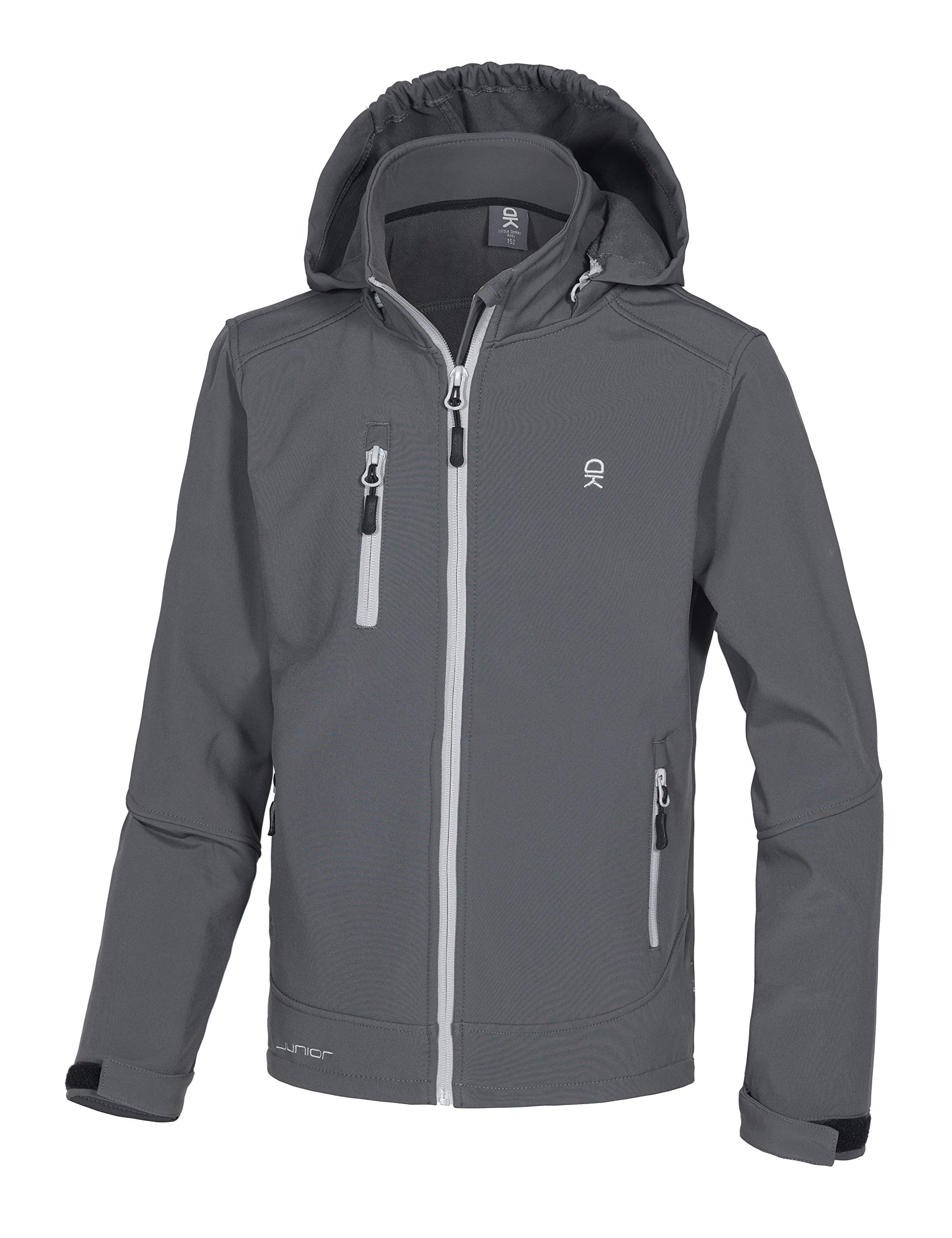 Little Donkey Andy Boys' Youth Softshell Jacket with Removable Hood, Fleece Lined and Water Repellent