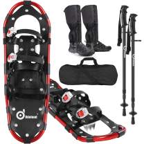 Odoland 4-in-1 Snowshoes Snow Shoes for Men and Women with Trekking Poles, Carrying Tote Bag and Waterproof Snow Leg Gaiters, Lightweight Aluminum Alloy Snow Shoes, Size 21''/25''/30''