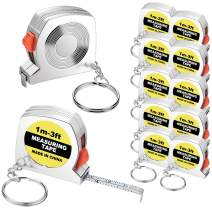 20 Pieces Tape Measure Keychains Functional Mini Retractable Measuring Tape Keychains with Slide Lock for Birthday Party Favors and Daily Use, 1 m/ 3 ft (20)
