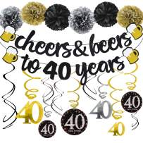40 Years Anniversary Decorations - Cheers & Beers to 40 Years Banner with Pom Poms 40th Sparkling Hanging Streamers for 40th Birthday Wedding Party Supplies Decorations - PRESTRUNG