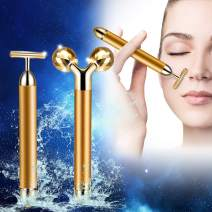 2 in 1 Jade Roller 3D Roller Beauty Bar Facial Massager Jade Facial Roller Massager 24k Golden Pulse Anti Aging Set Instant Face Lift, Anti-Wrinkles, Skin Tightening, Face Firming
