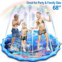 "Sprinkler and Splash Pad, Large 68"" Inflatable Sprinkler Pad Wading Pool, Outdoor Ocean Life Splash Play Mat Water Toy for Babies Toddlers Kids Boys and Girls"