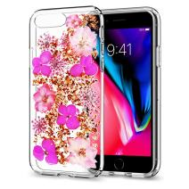 iPhone 8 Plus Real Flower Case, iPhone 7 Plus Real Flower Case, RE Soft Clear Flexible Rubber Handmade Pressed Dry Real Flowers Case Girls Floral Cover Ultra Thin Ultra Light Skin for iPhone 7/8 Plus