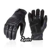Vgo 2Pair Men Goat Leather Premium Full Finger Motorcycle Gloves for Motorcycle, Hiking, Camping, ATV Riding (Size L,Black,GA5122)