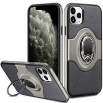 ELOVEN Case for iPhone 11 Pro Max Case with Ring Holder 360 Degree Rotation Stand Work with Car Mount Slim Fit Shockproof Non-Slip Hybrid Dual Layer Protective Case for iPhone 11 Pro Max, Gun Metal