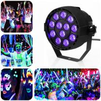 Black Lights with 36W 12LEDs UV Par Light by DMX Controller for Body Paint, Fluorescent Poster, Glow in the Dark Party
