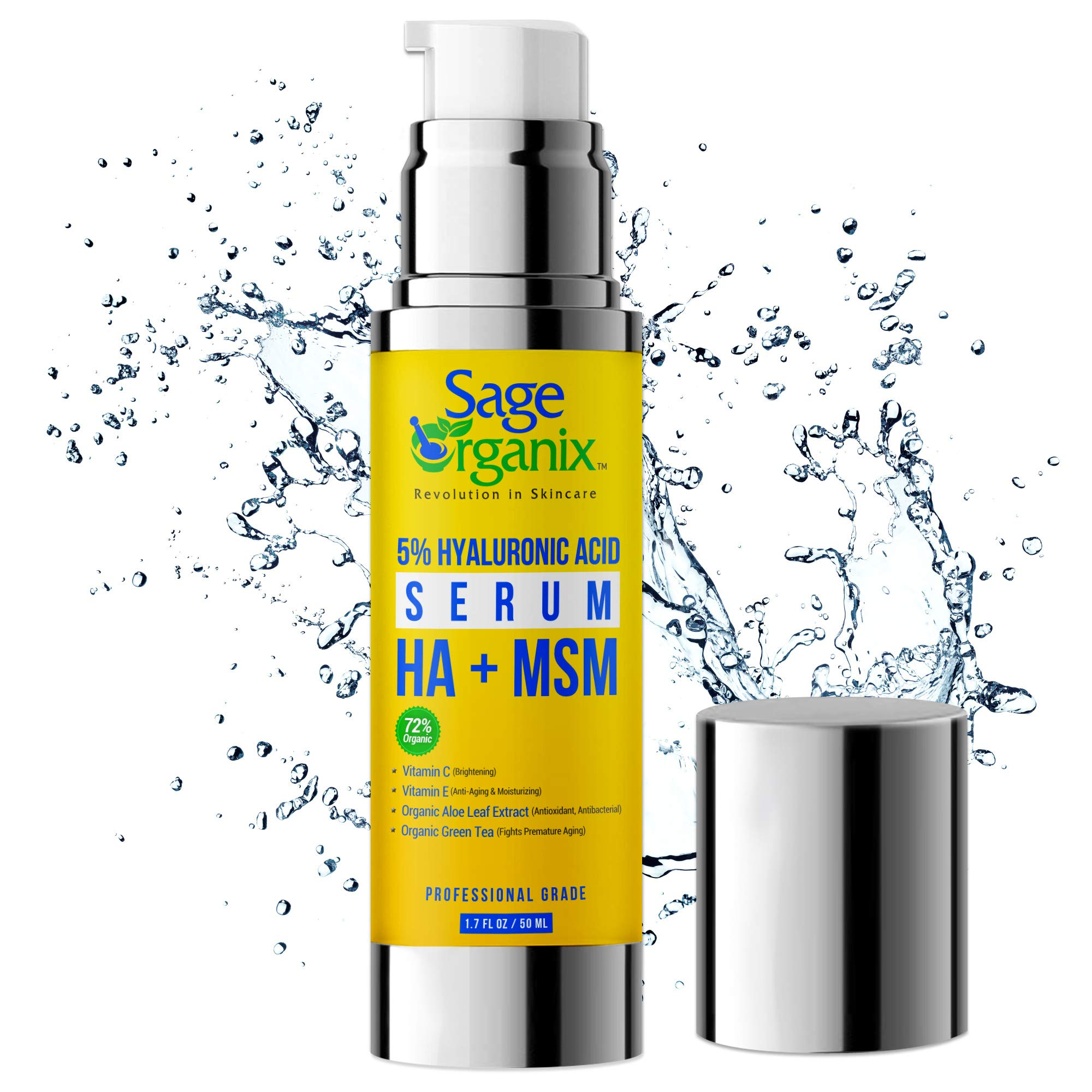 Sage Organix 5% HYALURONIC ACID VITAMIN C FACIAL SERUM, 72% ORGANIC Collagen Boosting, Brightening, Firming, Plumping Skin Serum to Slow Premature Aging Wrinkles & Fine Lines, Witch Hazel, MSM 1.7 oz