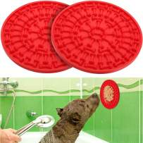 2 Pieces Dog Lick Mat Treat Dispensing Mat Dog Peanut Lick Mat Slow Feeders Distraction Device with Suction Cup to Wall for Bath Grooming