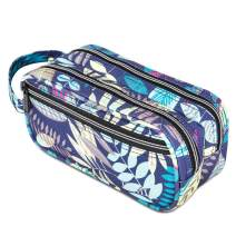 JEMIA Multi Compartments Collection 3 Independent Zipper Compartments with Handle Strap Pencil Case (Blue Leaves, Polyester)