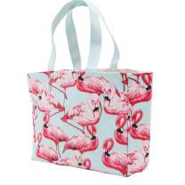 Beach Bag, Large Tote Bag Canvas Reusable for Women with Waterproof for Gym Beach Travel Daily Bags, Flamingo