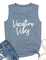 Vacation Vibes Tank Top Women Summer Beach Tanks Sleeveless Vacay Mode Graphic Tee Shirt