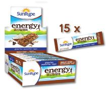 SunRype Gluten Free Energy Chocolate Coconut Bars with 7g Plant Protein (Case of 15)