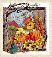 Maydear Cross Stitch Kits Stamped Full Range of Embroidery Starter Kits for Beginners DIY 14 CT 2 Strands - Bird's Nest 13.78×14.96 inch