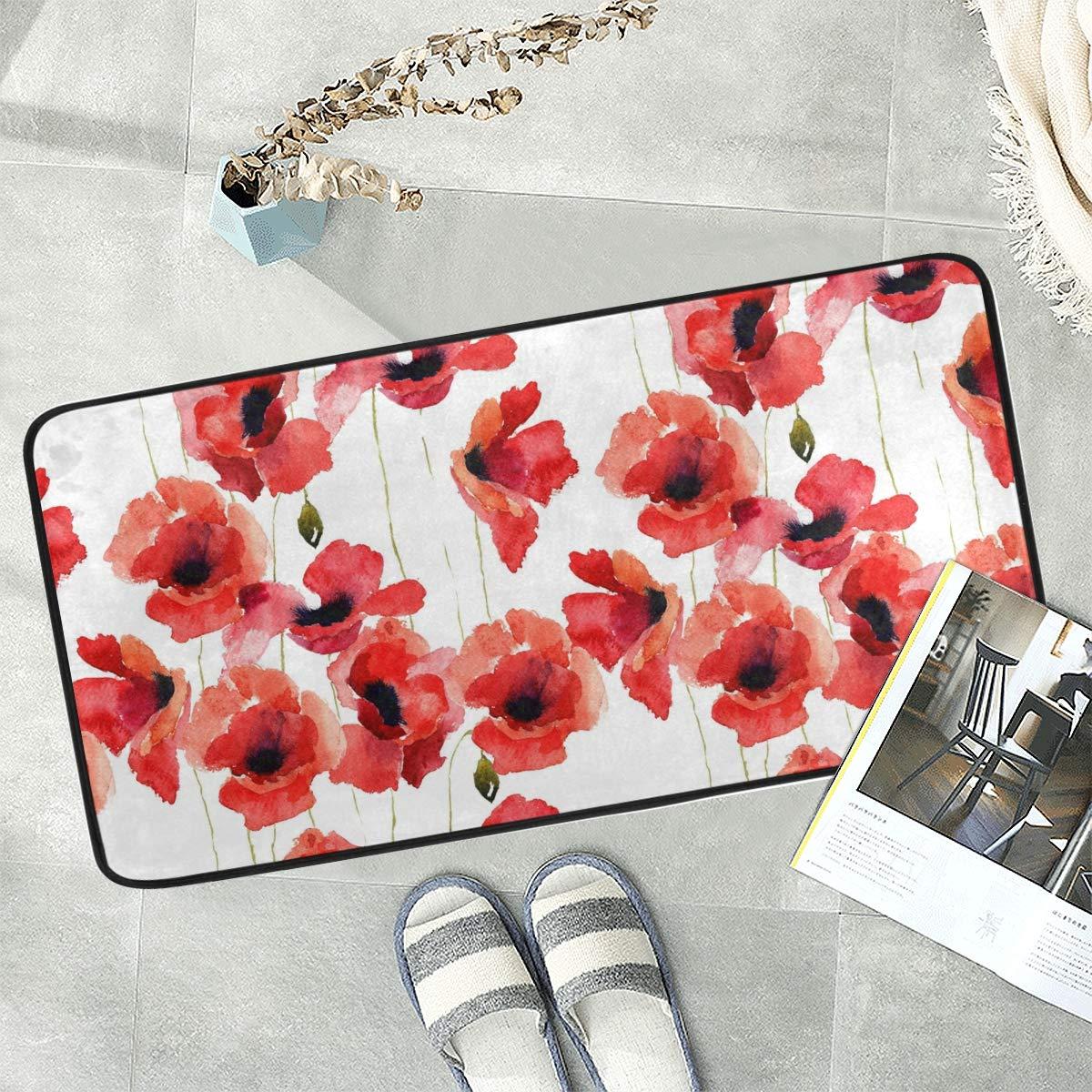 Naanle Floral Flower Anti Fatigue Kitchen Floor Mat, Watercolor Poppy Non Slip Absorbent Comfort Standing Mat Kitchen Runner Rug for Hallway Entryway Bathroom Living Room Bedroom 39 x 20 Inches