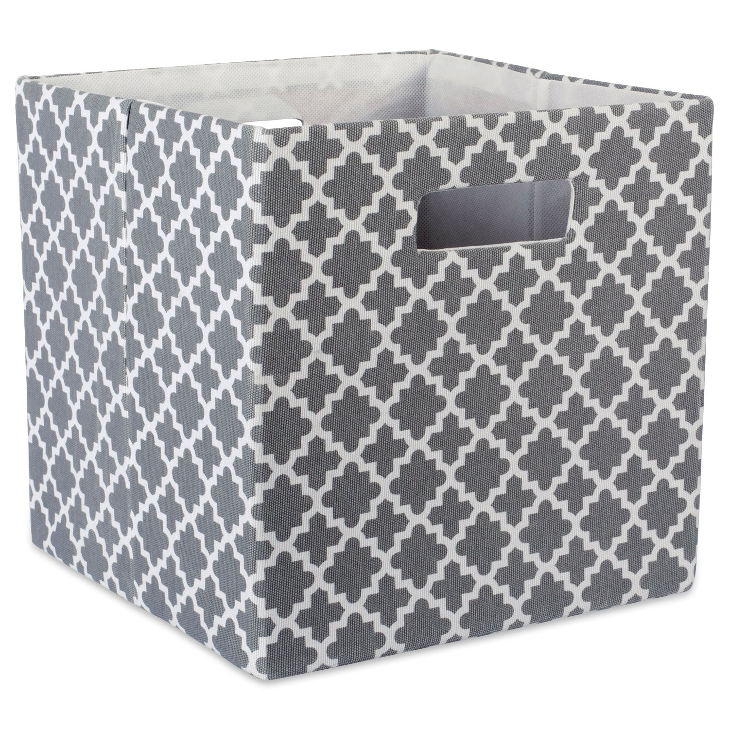 "DII Hard Sided Collapsible Fabric Storage Container for Nursery, Offices, & Home Organization, (13x13x13"") - Lattice Gray"