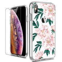 LUHOURI iPhone X Case,iPhone Xs Case with Screen Protector,Clear with Cute Blooming Floral Flower for Girls Women,Shockproof Slim Fit Protective Phone Case for iPhone X/iPhone Xs