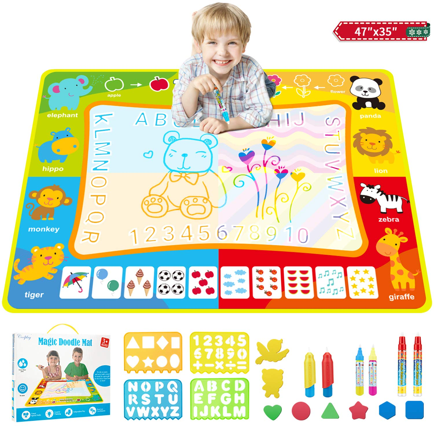 Water Drawing Mat, 47 × 35 Inches Extra Large Aqua Magic Doodle Mat, Kid's Drawing Writing Board, Colorful Educational Toys for 2 3 4 5 6 7 8 9 10 Year Old Girls Boys (Animal)