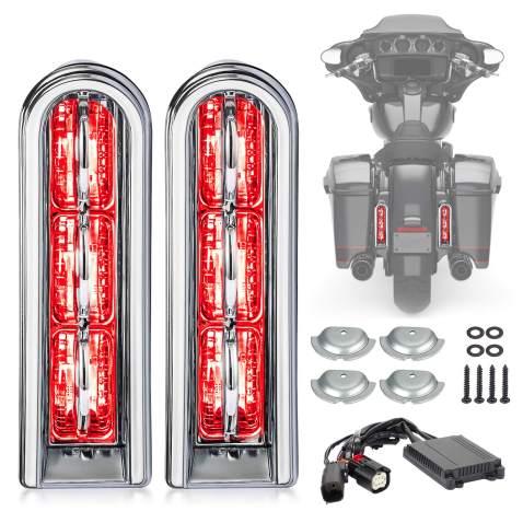 Motorcycle Rear Saddlebag Accent LED Light Insert Filler Support For Harley Touring FLHTCU/L Electra Glide FLHT/L Road Glide FLTRUSE CVO FLHR Road King 2014-2020 (Chrome Clean)