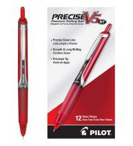 PILOT Precise V5 RT Refillable & Retractable Liquid Ink Rolling Ball Pens, Extra Fine Point, Red Ink, 12 Count (26064)