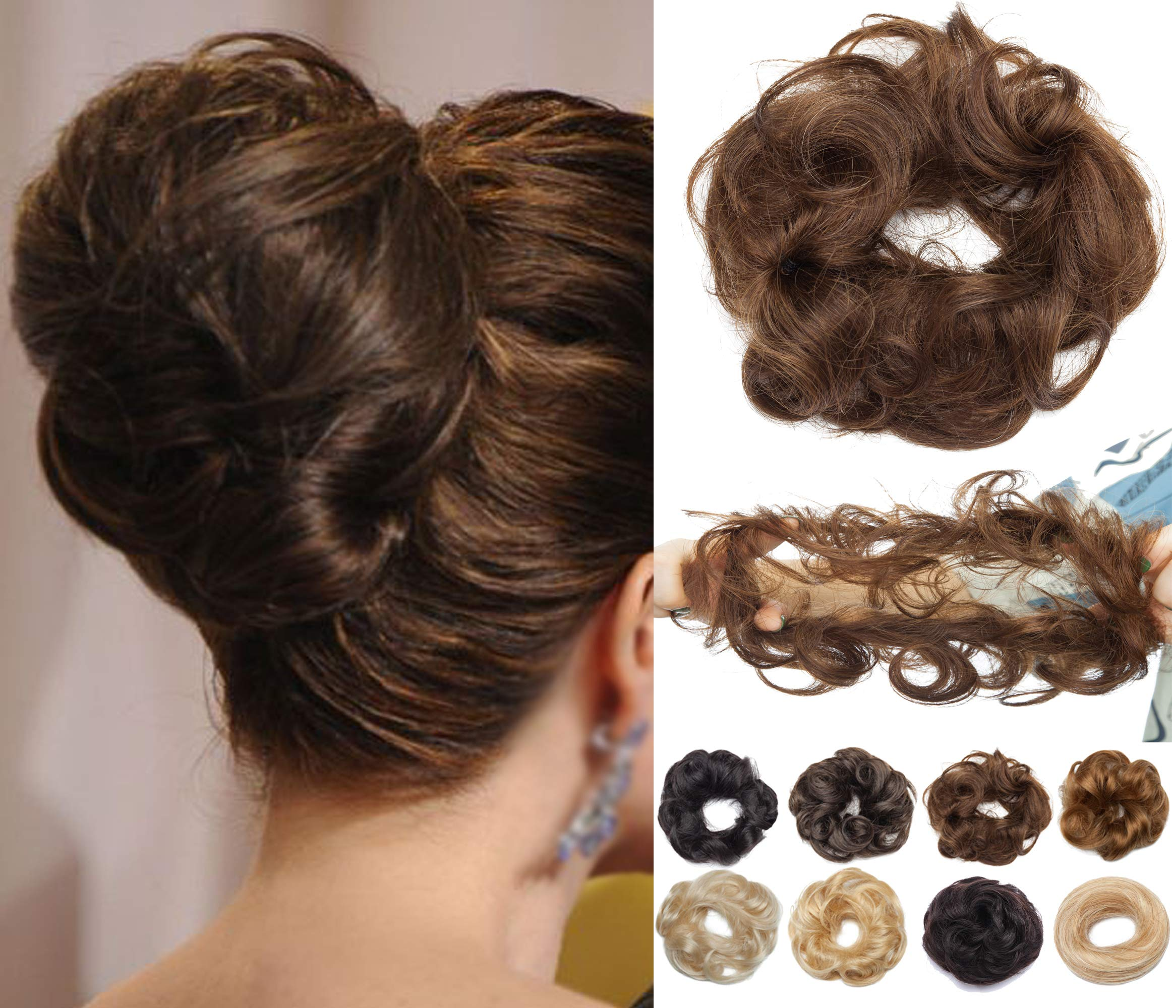 S-noilite 2PCS Scrunchies Extensions Real Human Hair Curly Wavy Elegant Chignons Messy Updo for Women Kids Donut Bun Extensions Wedding Hair Piece #04 Medium Brown-Wave