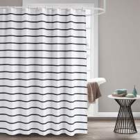 Seavish Fabric Shower Curtain, 72 x 72 Black and White Striped Geometric Cloth Shower Curtains for Bathroom Monogrammed Simply Design, Heavy Weighted and Waterproof