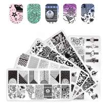 Biutee Nail Art Stamping Set 2019 NEW 5 Pcs Image Plates With 1 Pcs Double-headed Stamper 1Pcs Scraper Kit for DIY Manicure