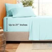 """Extra Deep Pocket Sheets - Bamboo Blend 4-Piece 21"""" Bed Sheet Set – Bamboo and Microfiber Blend – Extra Deep Bed Sheet – Ultra Deep Sheets for Deep Pockets Mattress - Twin XL - Light Baby Blue"""