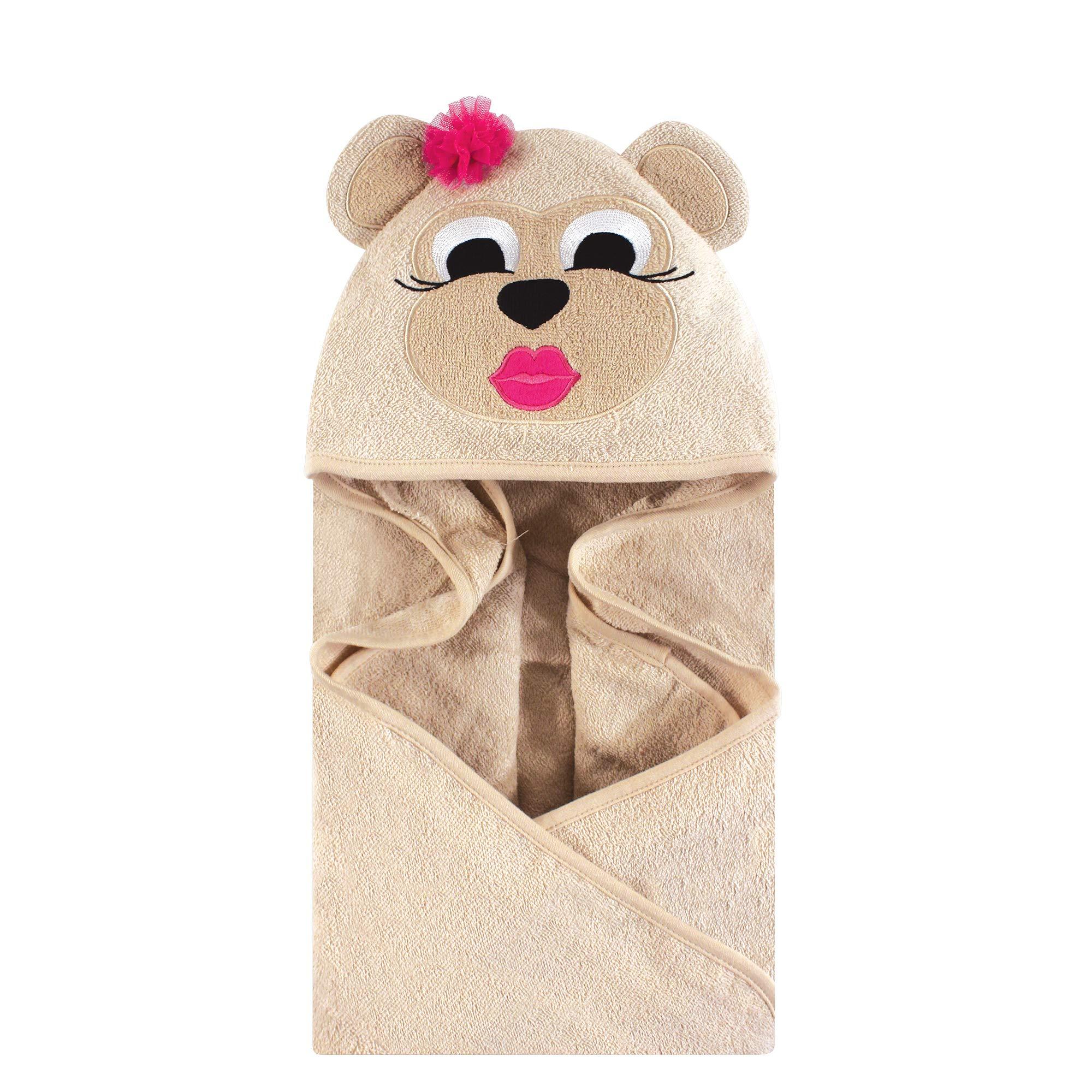 Hudson Baby Unisex Baby Cotton Animal Face Hooded Towel, Miss Monkey, One Size