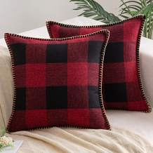 AQOTHES Pack of 2 Buffalo Check Plaid Throw Pillow Covers Farmhouse Decorative Square Pillows Case Trimmed Edge Cushion Covers for Sofa Couch Bed Car Home Decor (Red and Black, 18x18 inches)