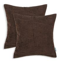 CaliTime Pack of 2 Comfy Throw Pillow Covers Cases for Couch Sofa Bed Decoration Comfortable Supersoft Corduroy Corn Striped Both Sides 22 X 22 Inches Coffee
