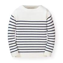 Hope & Henry Girls' Long Sleeve Breton Sweater with Button Detail