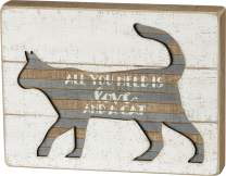 Primitives by Kathy Hand Lettered Slat Wood Box Sign, 10 x 7.5-Inches, All You Need is Love & A Cat