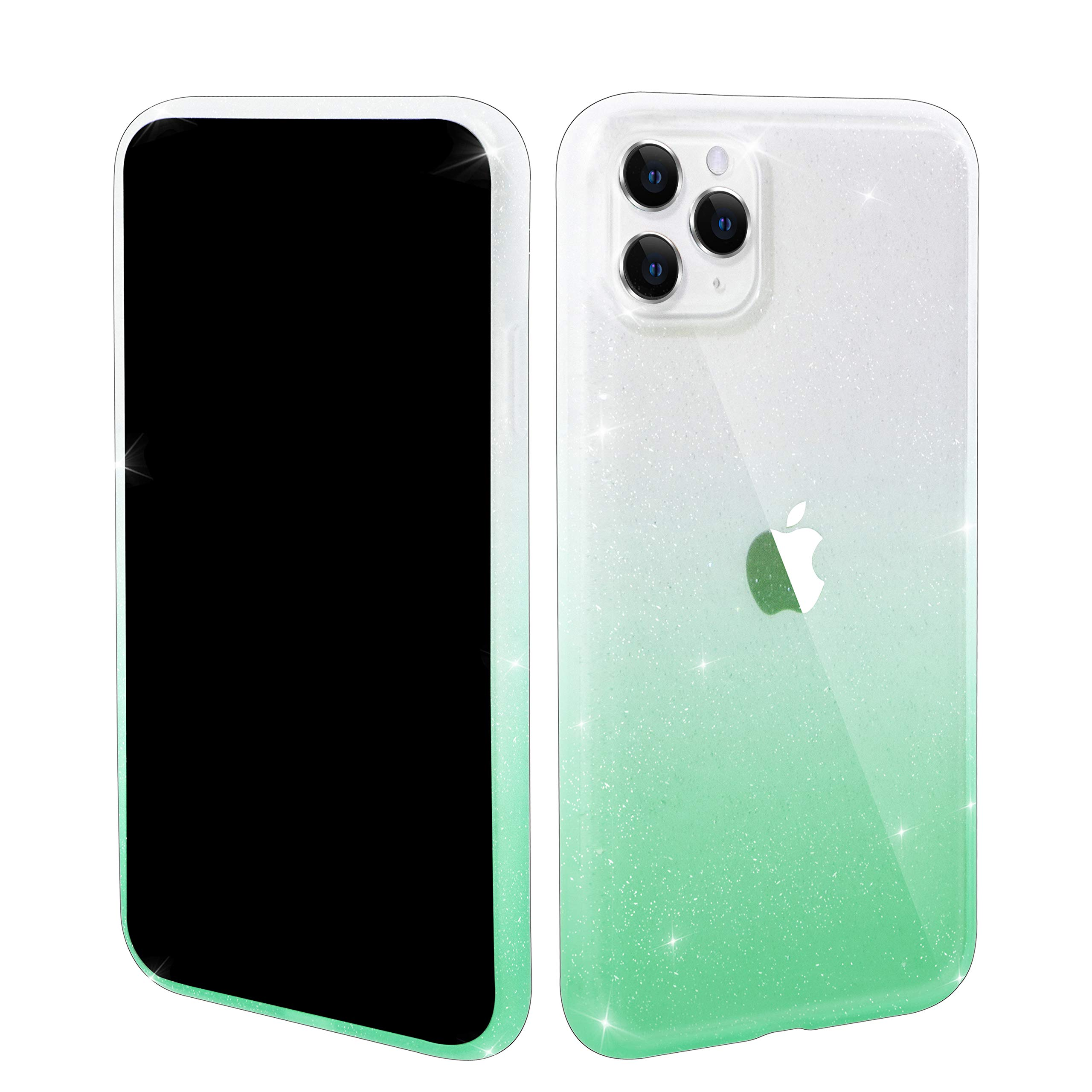Tzomsze iPhone 11 Pro Max Glitter Case for Girls, Cute Clear Gradient Sparkle Bling Shockproof Case Matte Bumper TPU Soft Rubber Silicone Cover 6.5 inch(Green)