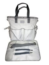KidZone by IPP - 2 in 1 Baby Diaper Bag - Functional Duffle Overnighter Tote - Quality Canvas w/Table Topper Changing pad (Grey/White Mini-Stripe Grey Trim)